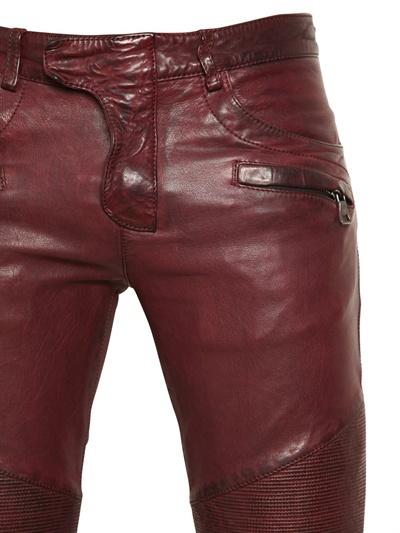 Balmain 18cm Leather Biker Trousers In Purple For Men Lyst