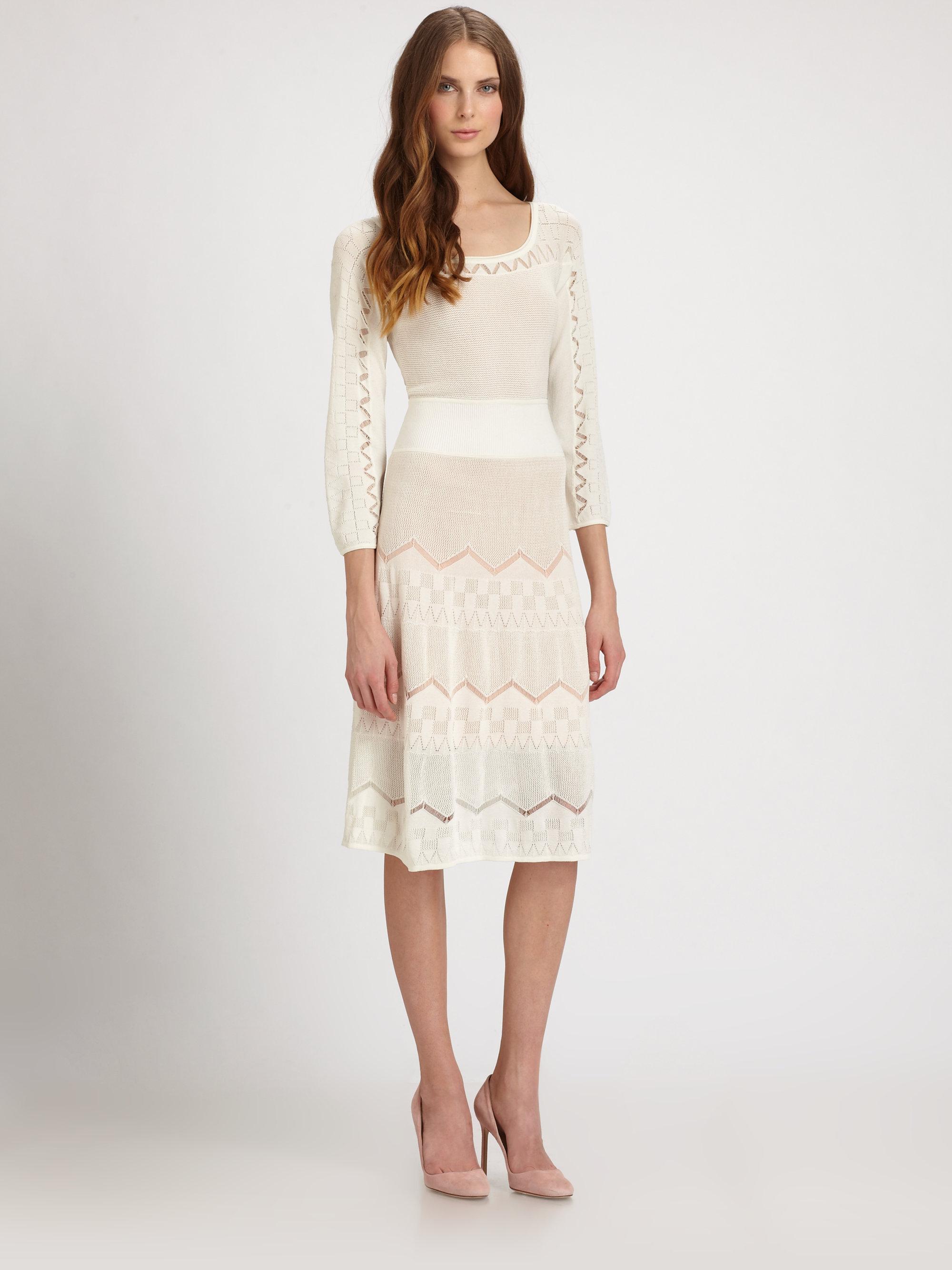 Lyst Catherine Malandrino Pointelle Knit Dress In White