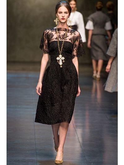 Dolce &amp- gabbana Lace Jacquard Dress in Black - Lyst