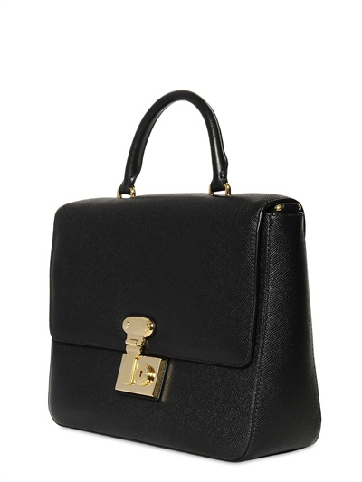fe022d1030b8 Lyst - Dolce   Gabbana Miss Linda Saffiano Leather Top Handle in Black