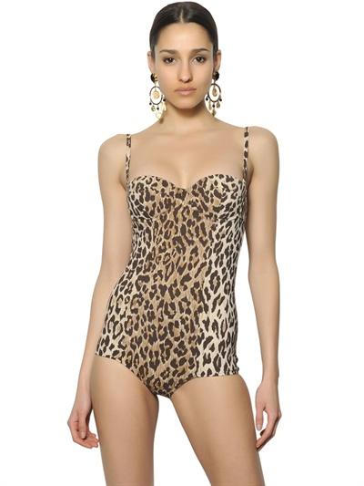 69f2861ce11 Dolce & Gabbana Leopard Lycra One Piece Swimsuit - Lyst