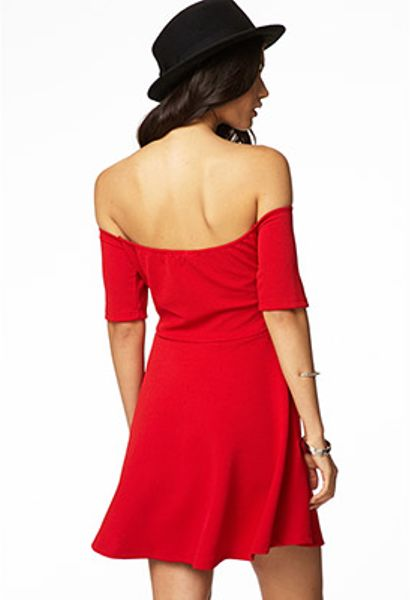 Forever 21 Off The Shoulder Fit Amp Flare Dress In Red Lyst
