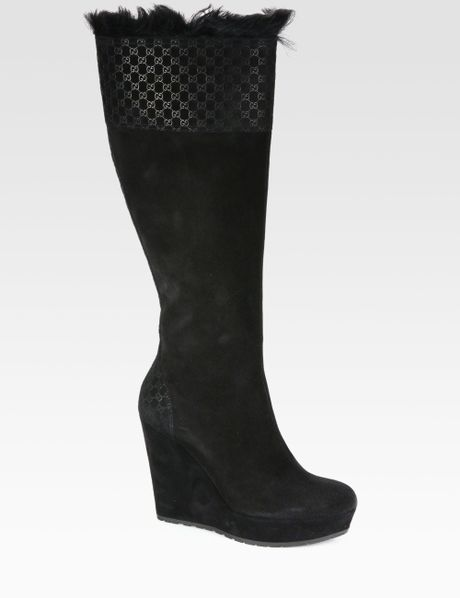 gucci gg suede furlined wedge boots in black lyst