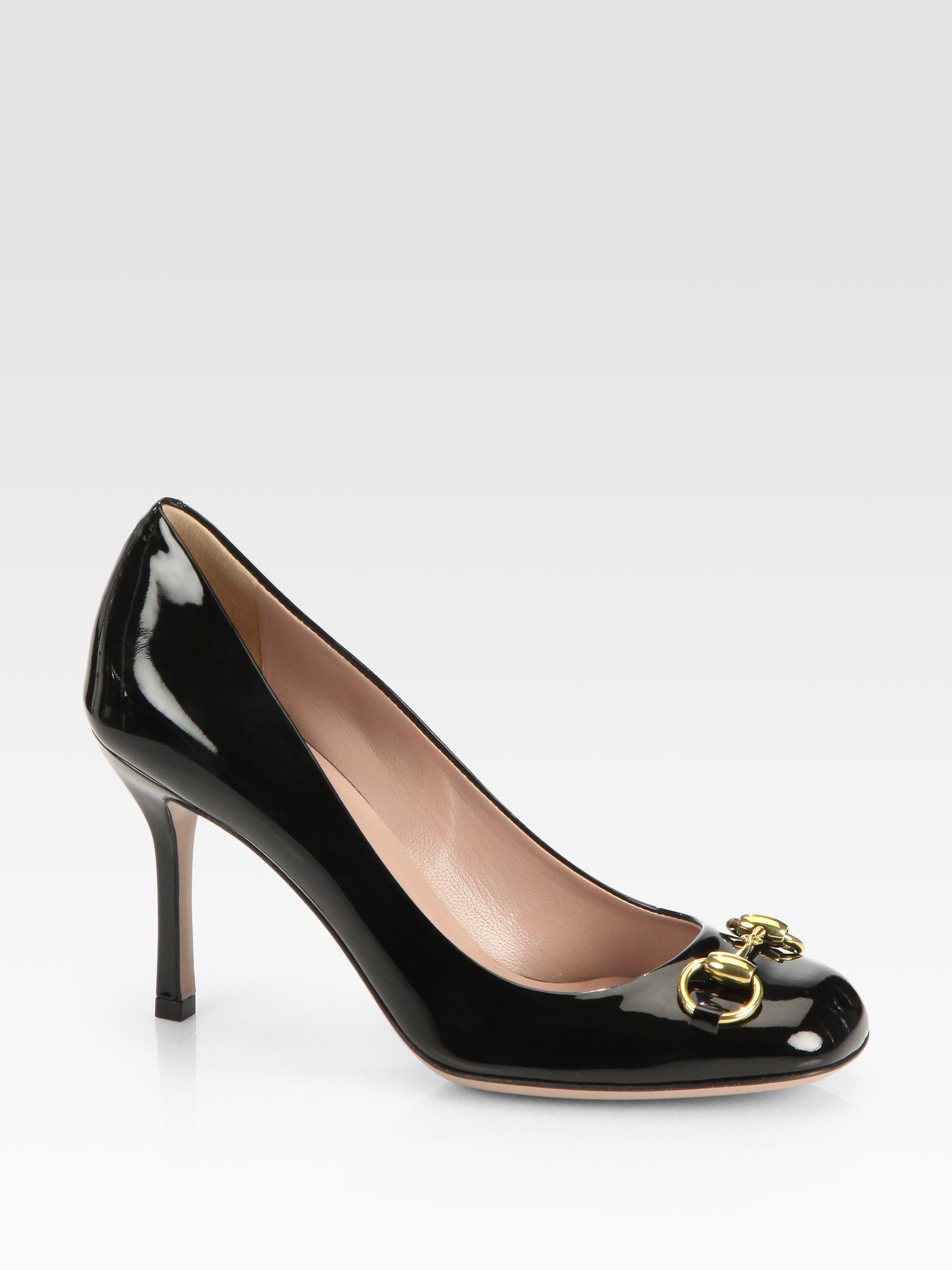 fe227e5ff5f0 Lyst - Gucci Patent Leather Horsebit Pumps in Black