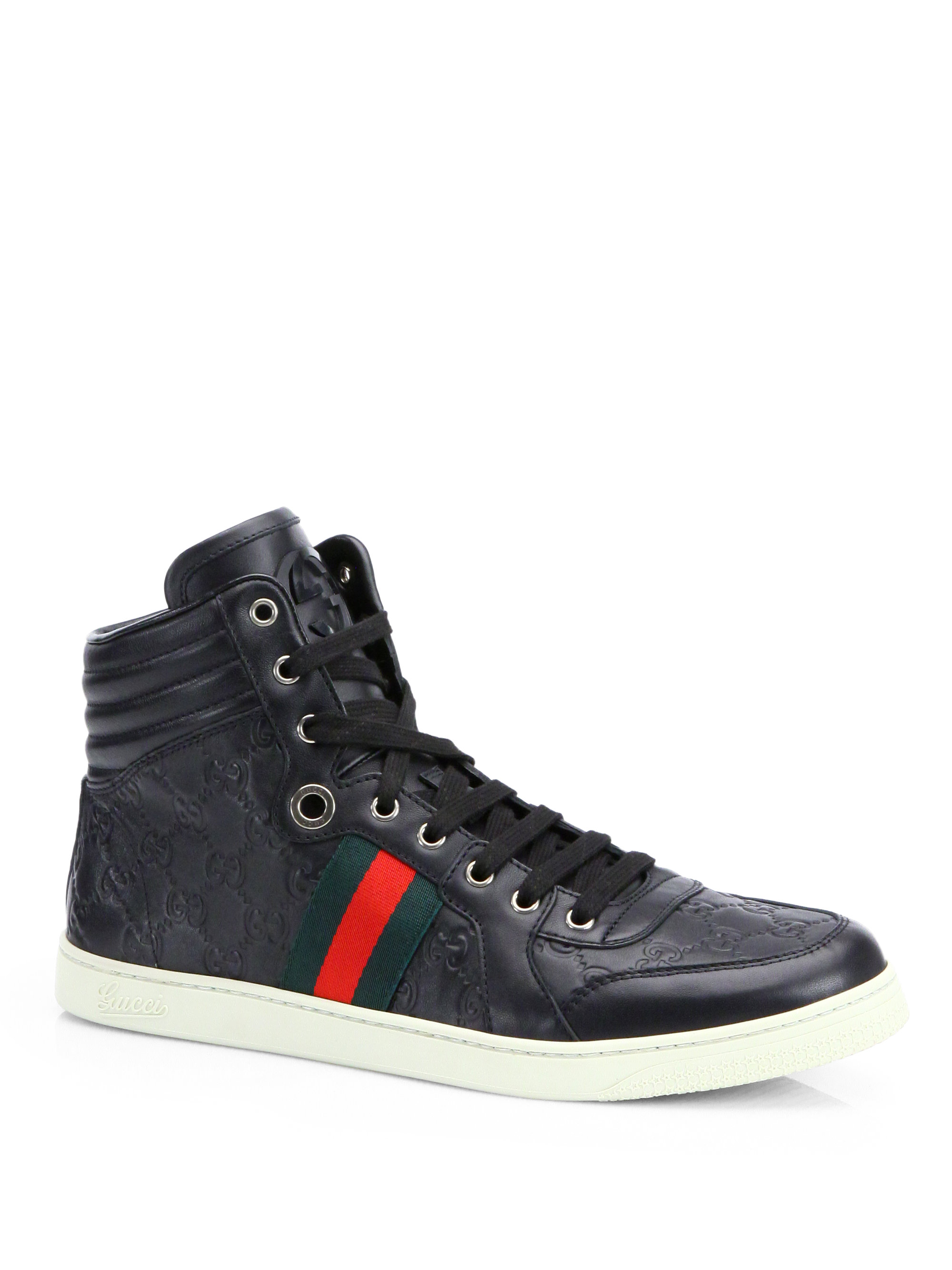 gucci ssima high top sneakers in black for men lyst. Black Bedroom Furniture Sets. Home Design Ideas