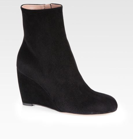 gucci suede wedge ankle boots in black lyst