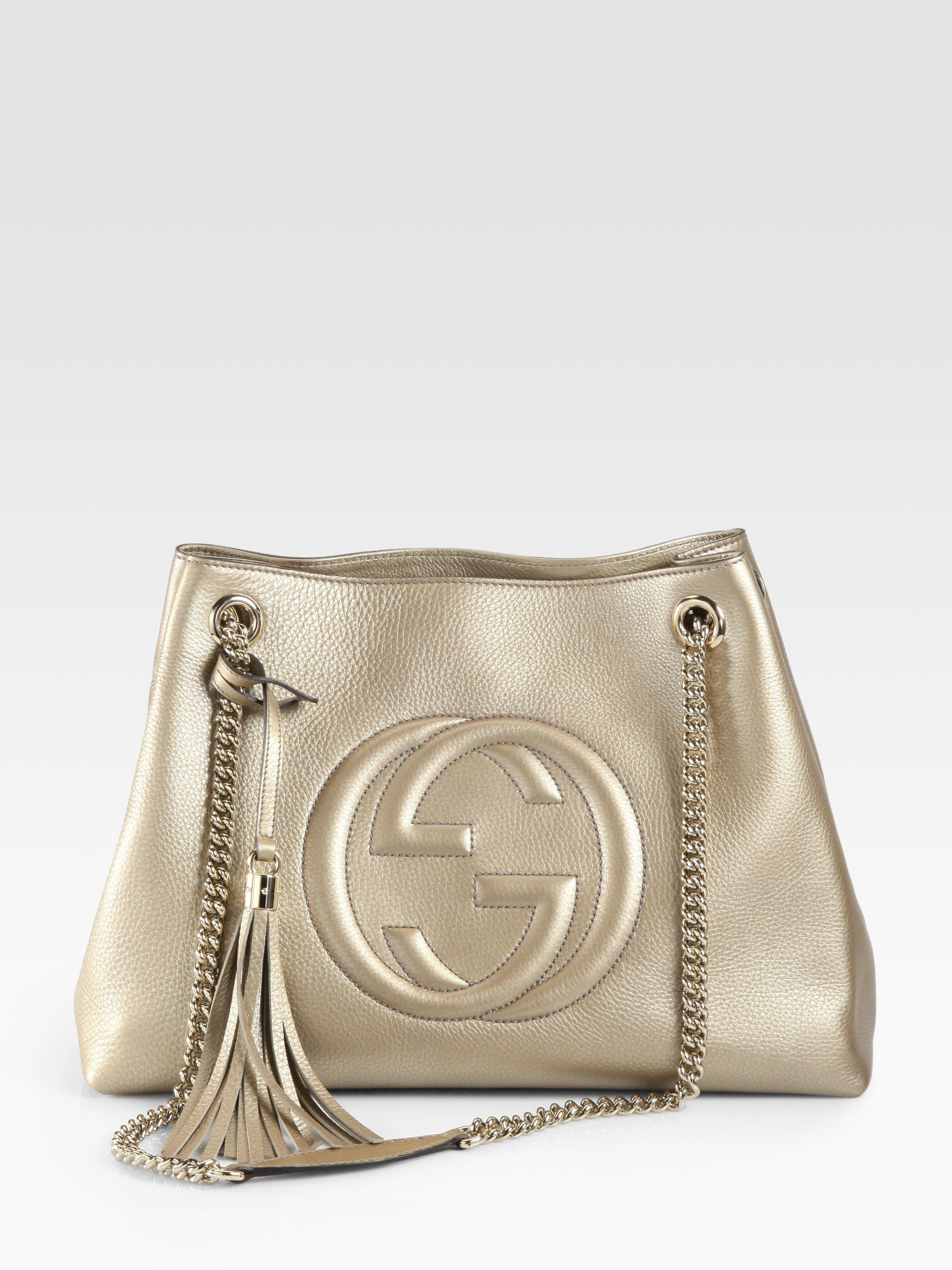 97e23f0416bf Gucci Soho Metallic Leather Shoulder Bag in Metallic - Lyst