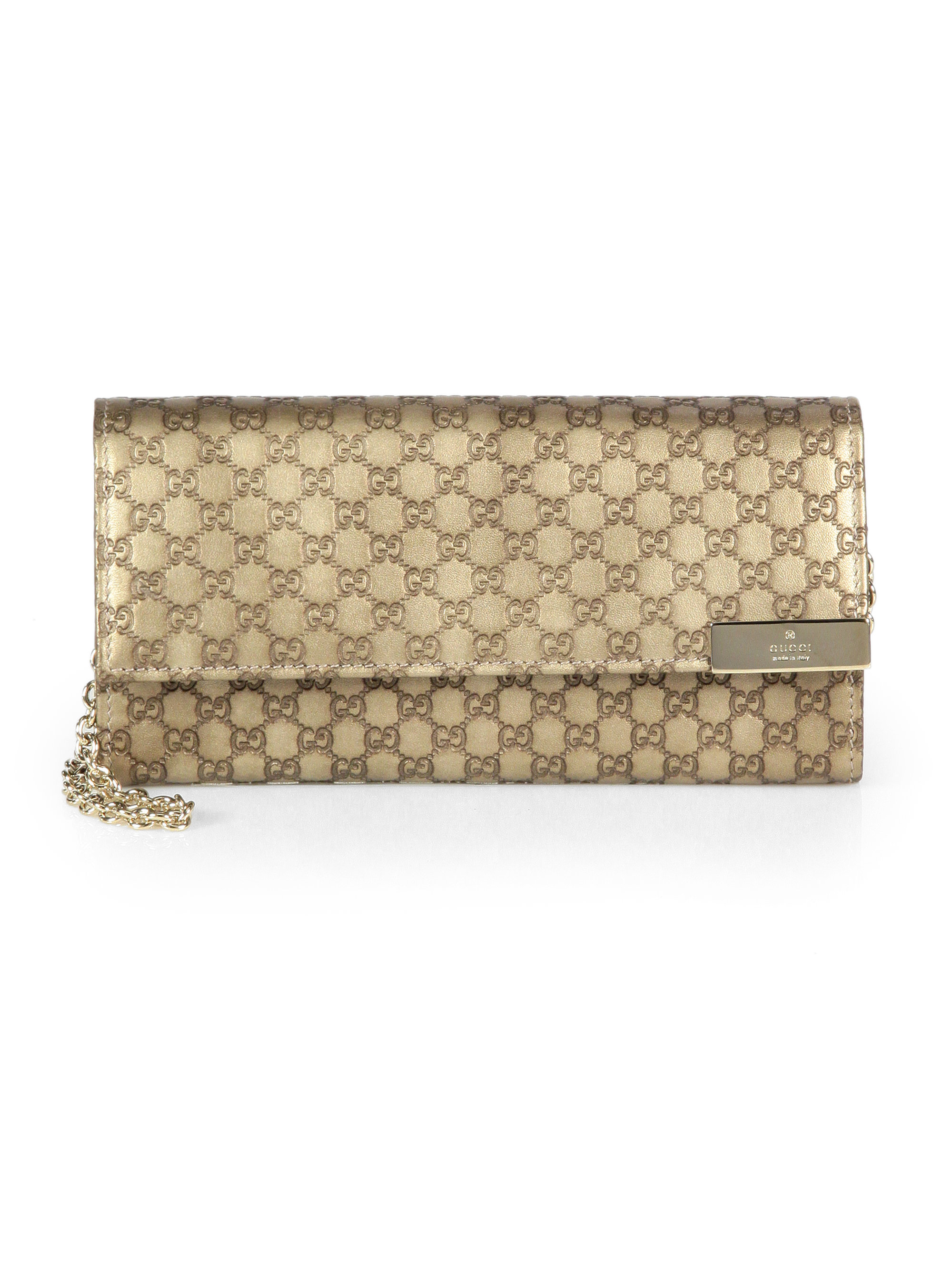 c05ad3d8ef08 Gucci Dice Metallic Microguccissima Leather Chain Wallet in Metallic ...