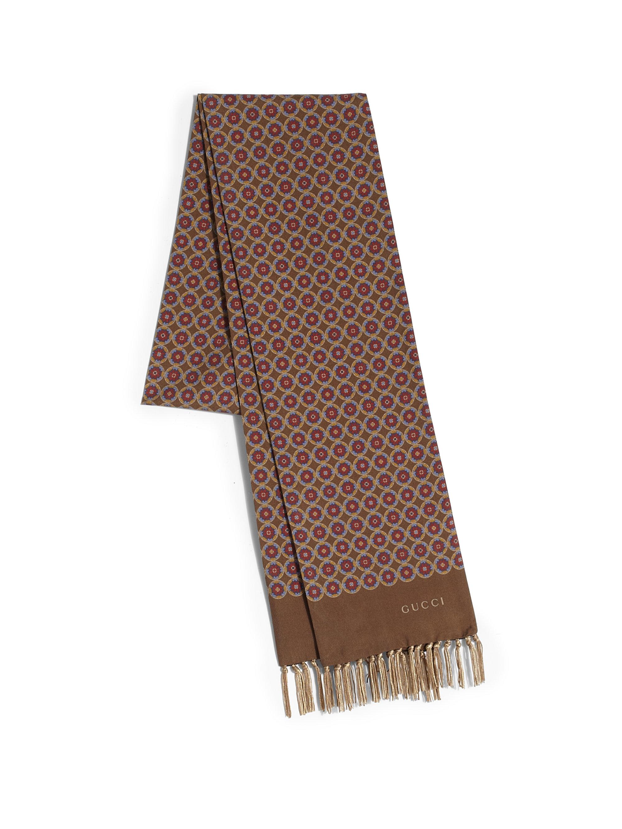Lyst Gucci Medallion Print Silk Scarf In Brown For Men