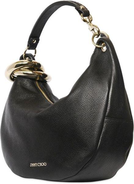 283b14f9a41 Jimmy Choo Small Solar Deerskin Shoulder Bag in Black | Lyst
