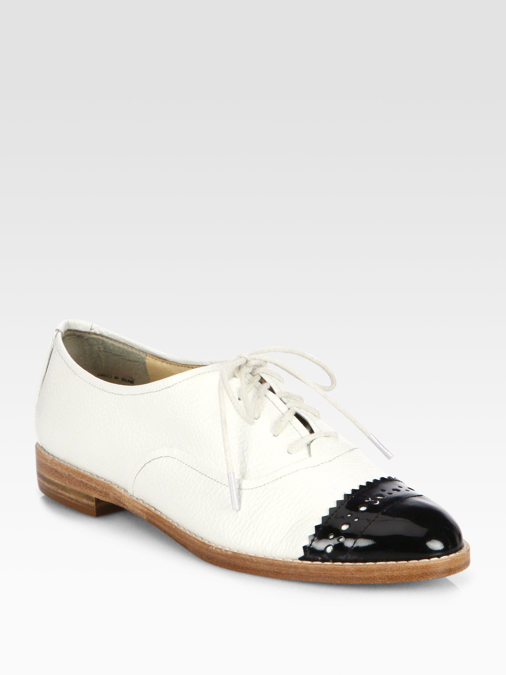 kate spade poppin patent leather laceup oxfords in white