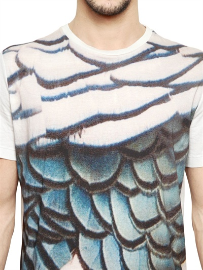 Lyst lanvin fish scale printed cotton jersey t shirt in for Fish scale shirt