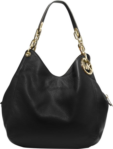 michael michael kors large fulton hobo bag in black black lyst. Black Bedroom Furniture Sets. Home Design Ideas