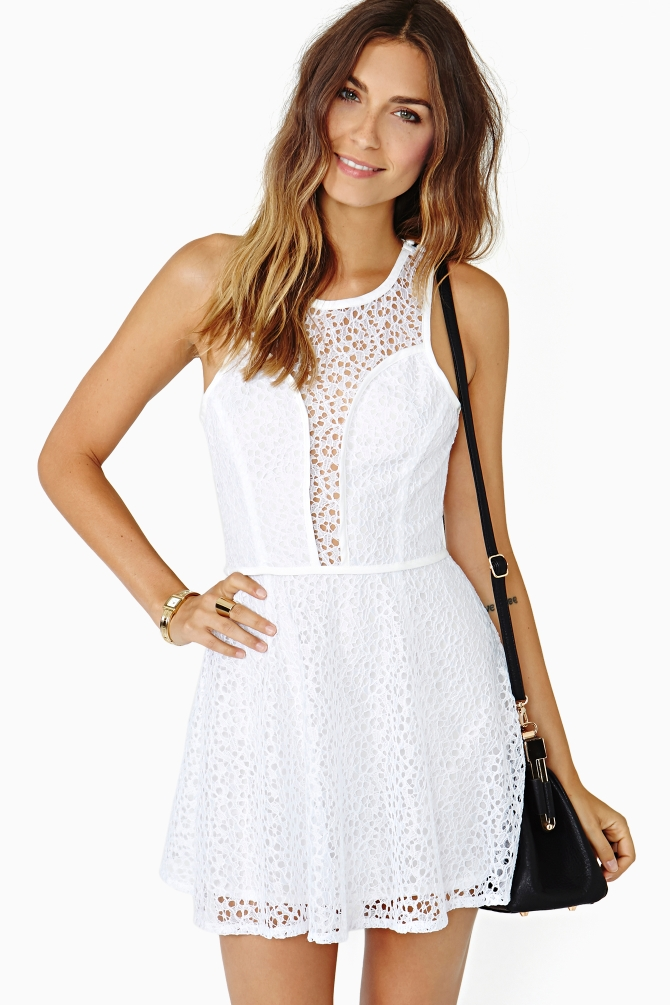 Wear your lace dress with statement jewels and or pick a simple lace panel dress for a subtle nod to the trend. Be belle of the ball in swooping asymmetric styles and add a smoky eye and statement lip colour to set the look off perfectly.