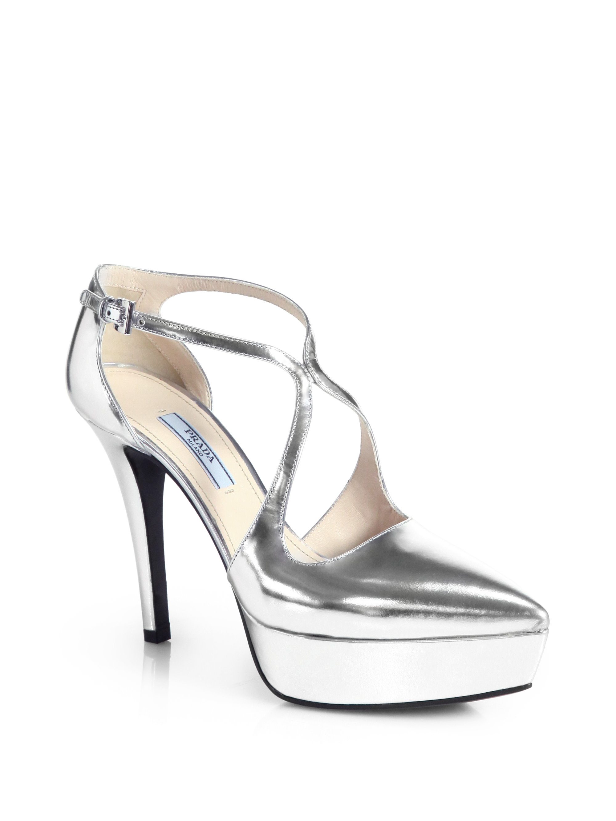 Prada Metallic Leather Crossover Platform Pumps In Silver
