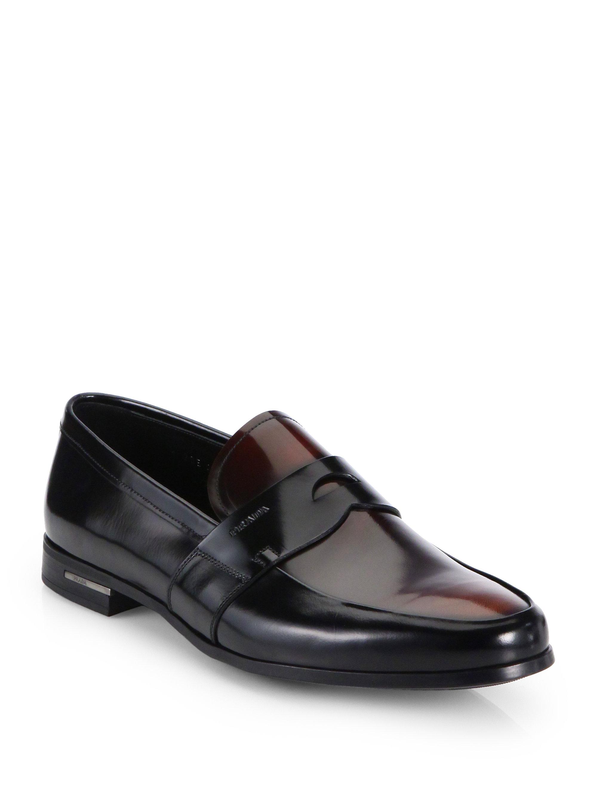 Prada Bicolor Spazzolato Penny Loafers In Black Brown