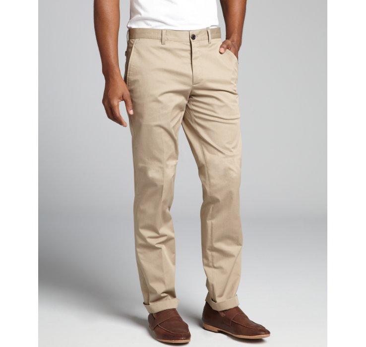 Lyst Prada Khaki Stretch Cotton Flat Front And Cuffed