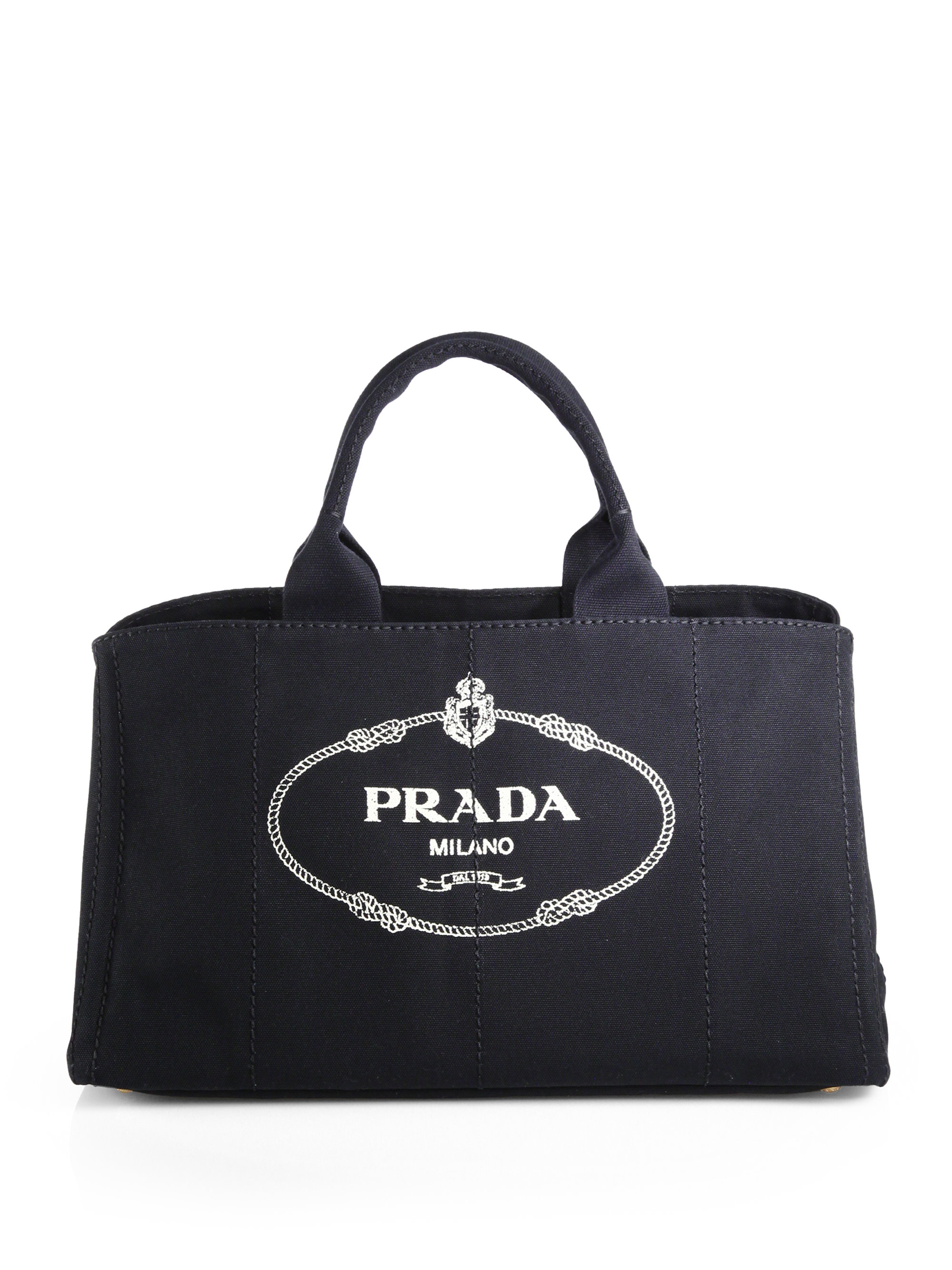 668325d8006e Prada Logo Printed Large Canvas Tote in Black - Lyst