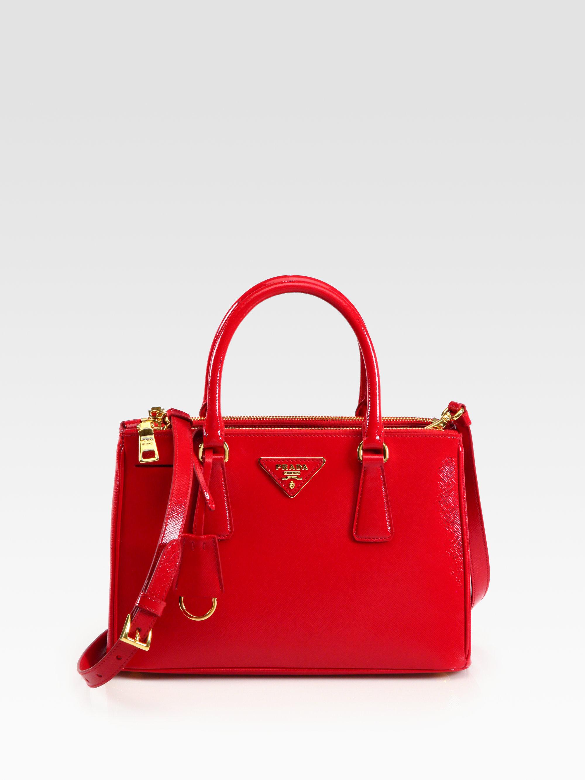 0e1212498e6 Prada Saffiano Vernice Tote in Red - Lyst