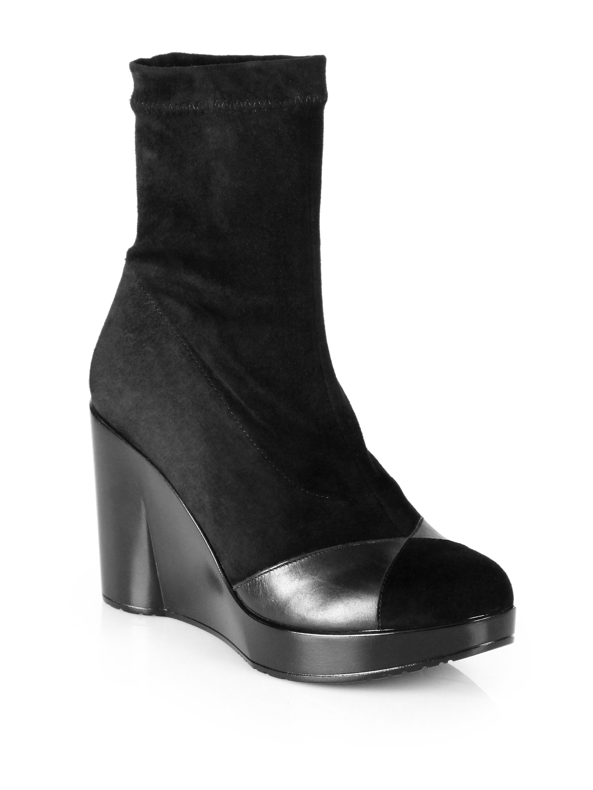 robert clergerie cendre suede leather wedge ankle boots in