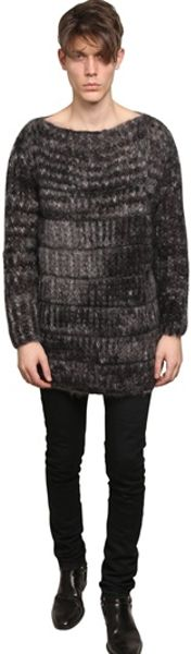 Saint Laurent Oversized Mohair Knit Sweater in Gray for Men (grey .