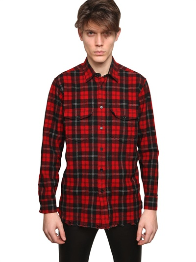 Saint laurent checked wool flannel shirt in black for men for Mens wool flannel shirt