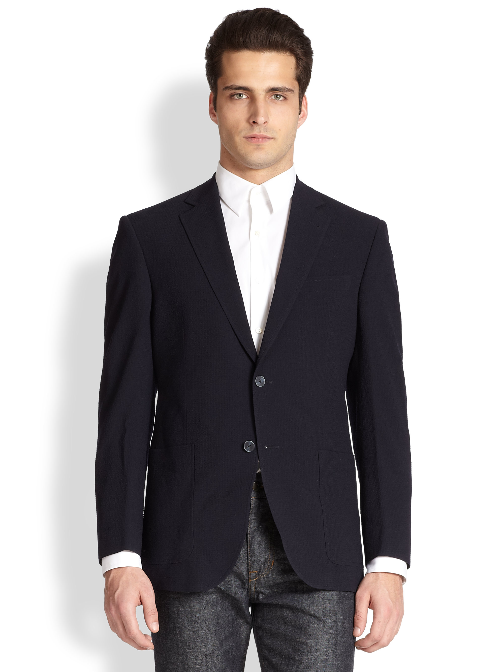 lyst saks fifth avenue solid wool seersucker blazer in blue for men. Black Bedroom Furniture Sets. Home Design Ideas