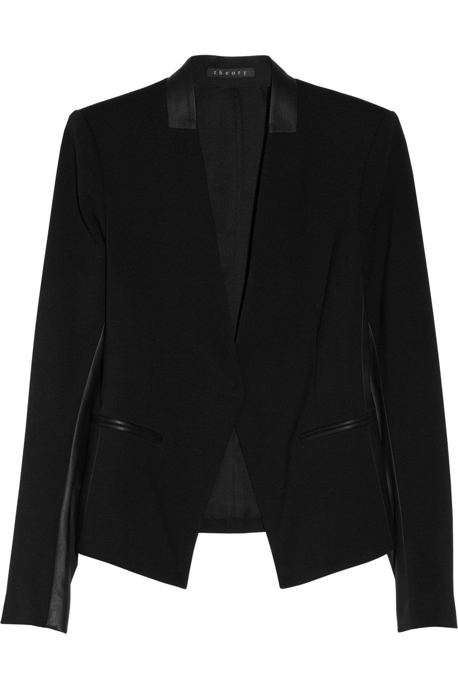 31890557c64 Lyst - Theory Lanai Leather trimmed Stretch ponte Blazer in Black