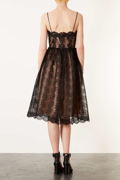 Topshop Strappy Lace Midi Prom Dress In Brown Black Lyst