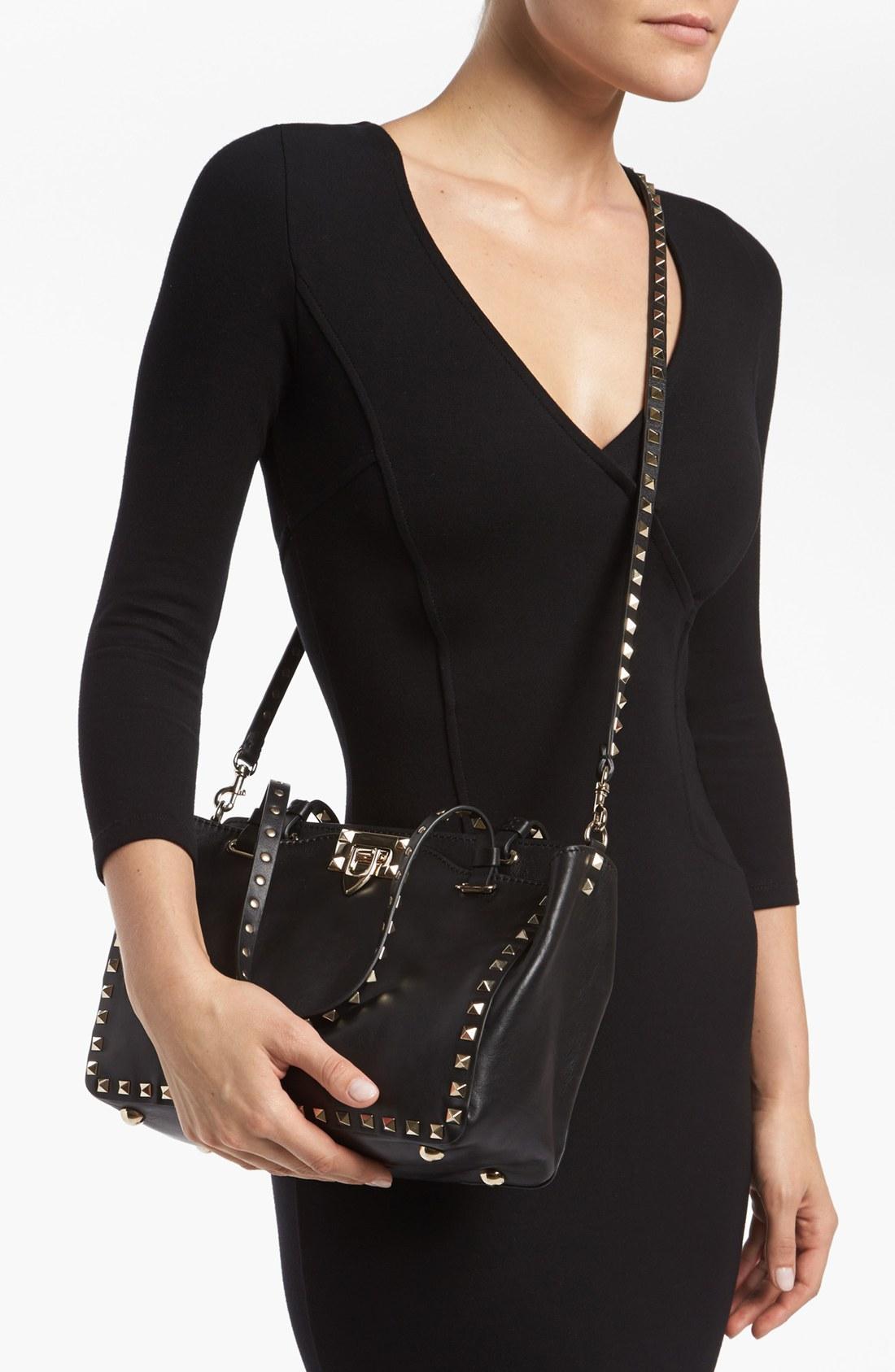 lyst valentino rockstud mini crossbody bag in black. Black Bedroom Furniture Sets. Home Design Ideas