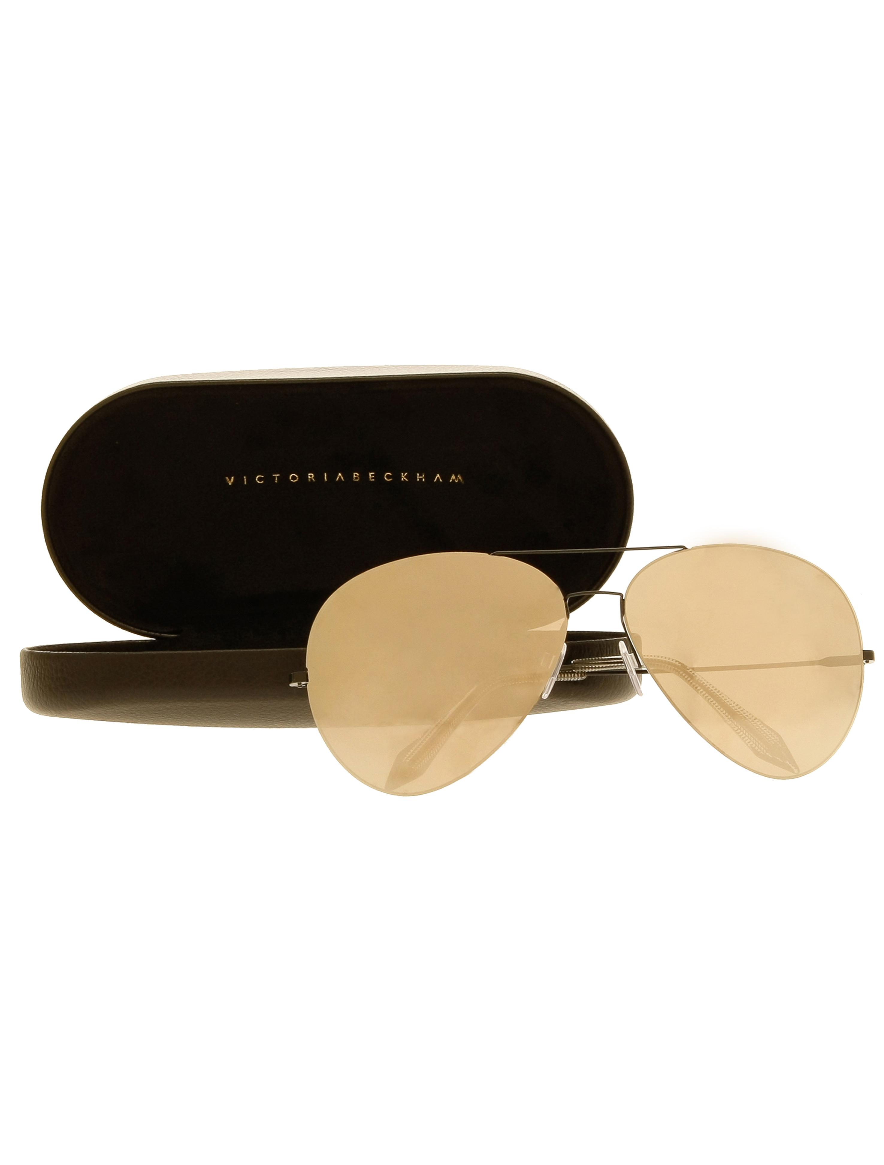 Victoria Beckham Feather Aviator Sunglasses In Metallic Lyst