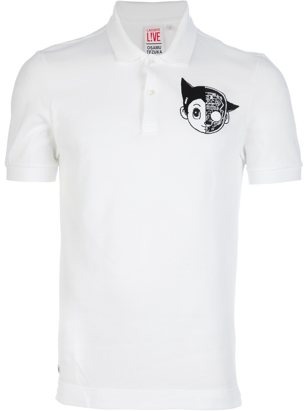 lyst lacoste printed polo shirt in white for men. Black Bedroom Furniture Sets. Home Design Ideas