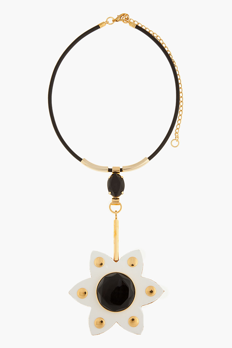Necklace with Flower in Corn Metal Leather Marni p1bHye4