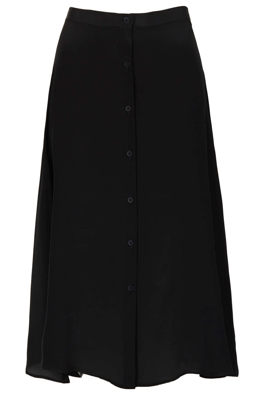 topshop silk button midi skirt by boutique in black lyst