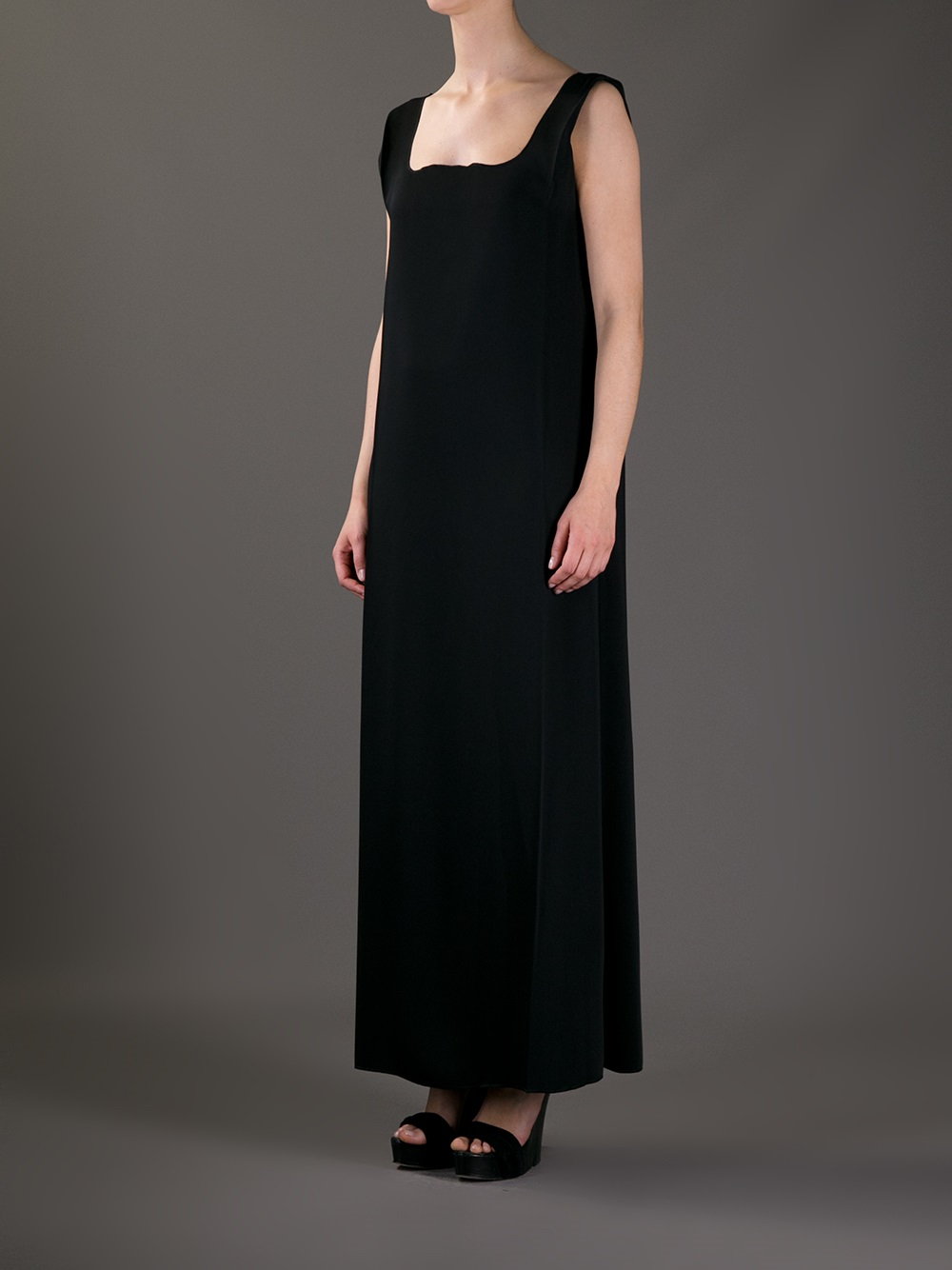 c367341307 MM6 by Maison Martin Margiela Square Neck Maxi Dress in Black - Lyst