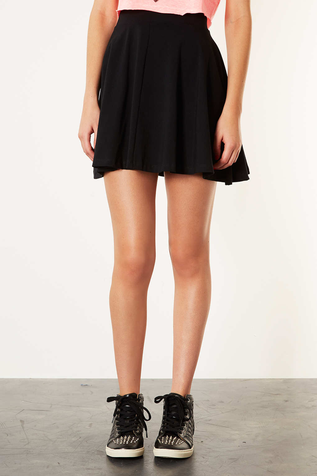 Topshop Black High Waist Skater Skirt in Black | Lyst