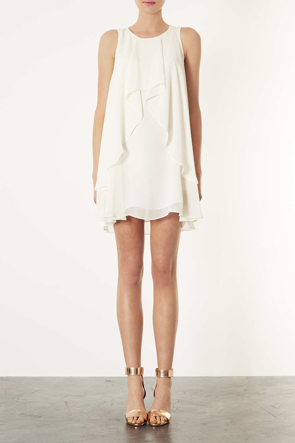 Lyst Topshop Waterfall Trapeze Dress In White