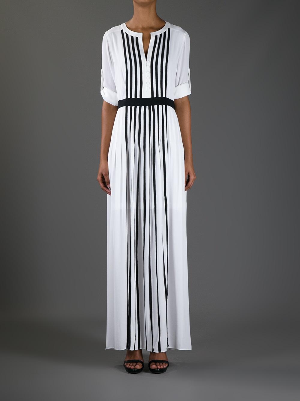 Lyst Bcbgmaxazria Striped Long Dress In White