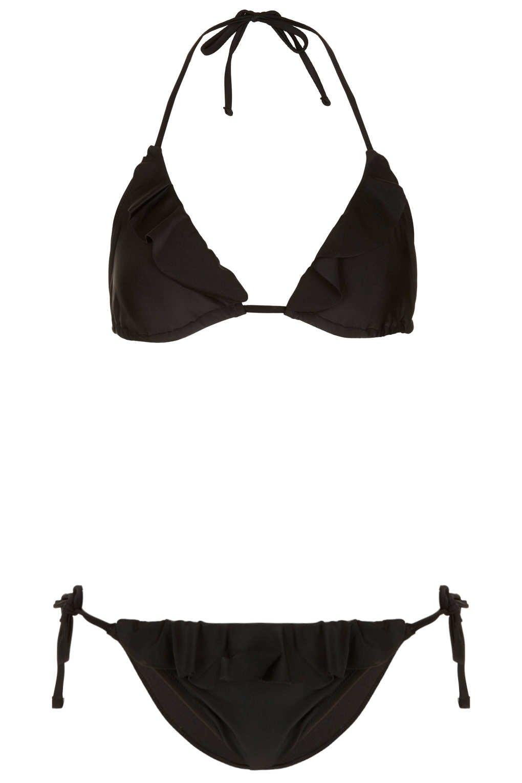 a15cf96ad80c1 Lyst - Topshop Black Ruffle Triangle Bikini in Black