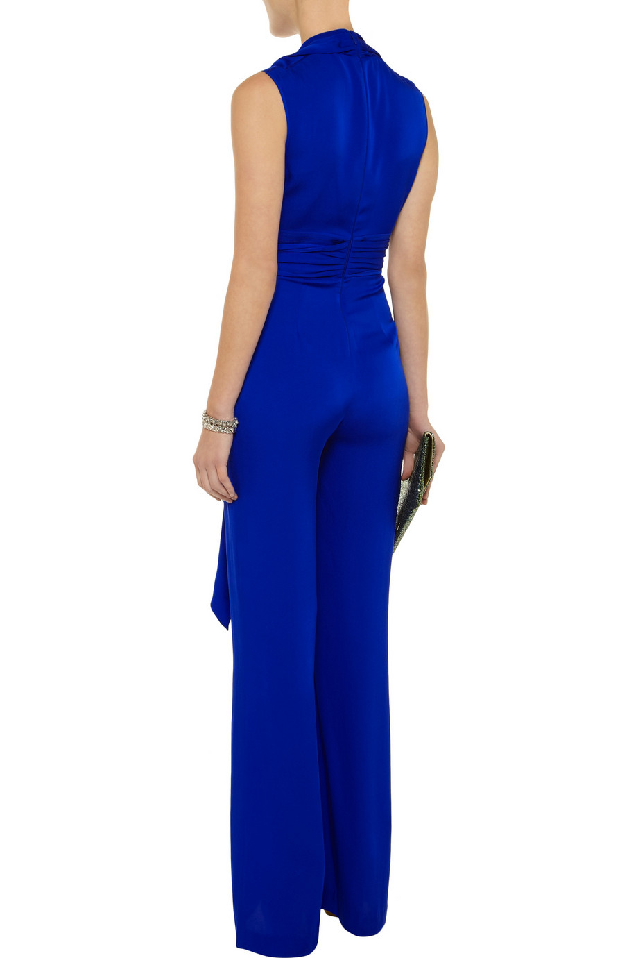 c144f21775a0 Lyst - Catherine Malandrino Belted Stretchsilk Jumpsuit in Blue