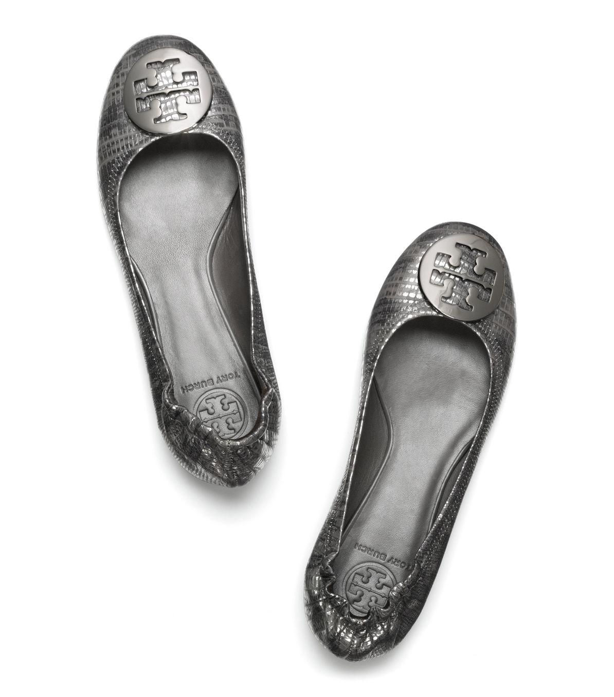 2235cc4e857 Lyst - Tory Burch Lizard Printed Reva Ballet Flat in Gray