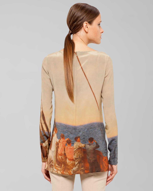 d0c3070a4cef9 Lyst - Akris Prince Albert Sailing Print Silk Crepe Tunic