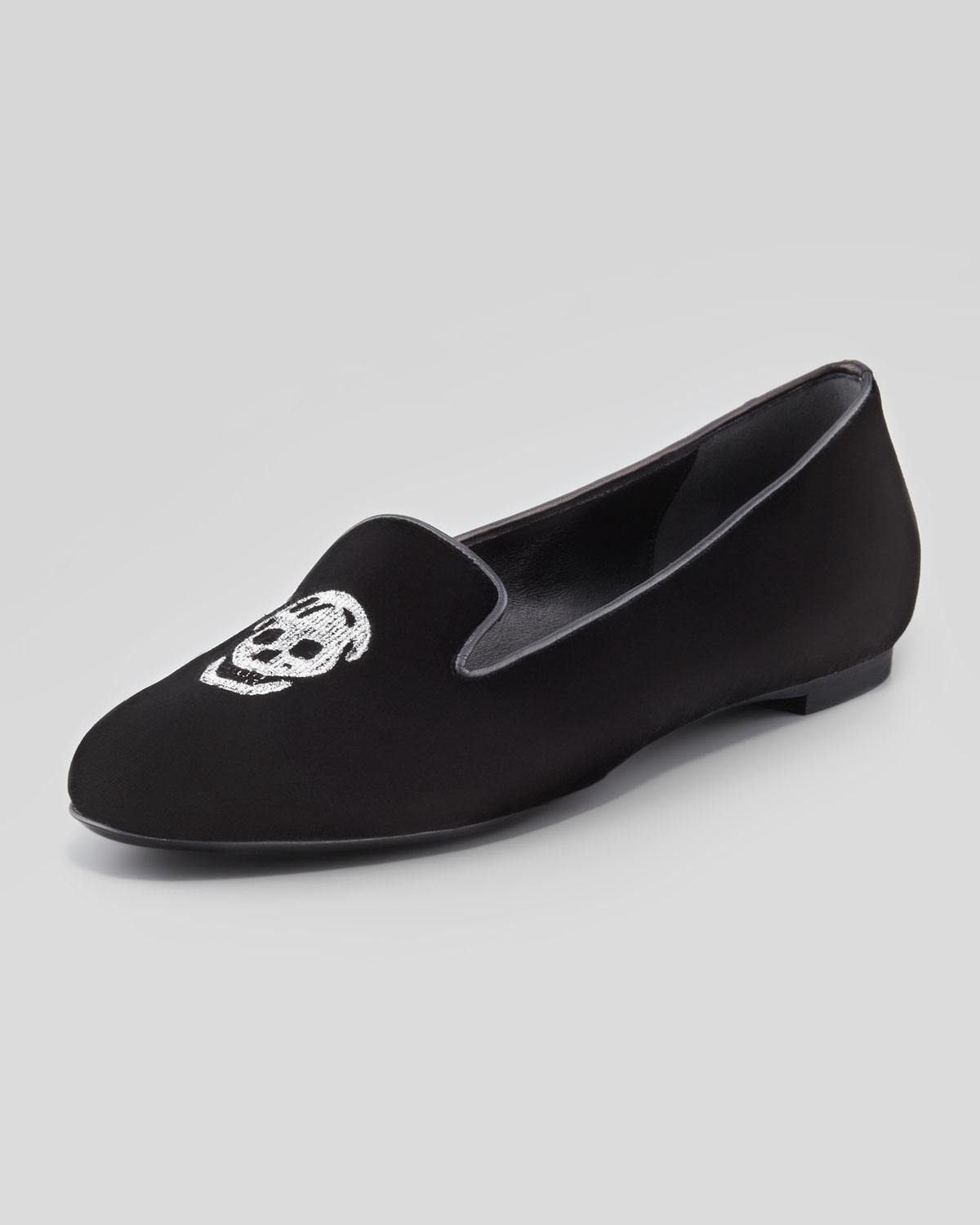 6f7f1a7fa98 Lyst - Alexander McQueen Embroidered Skull Smoking Slipper Black in ...