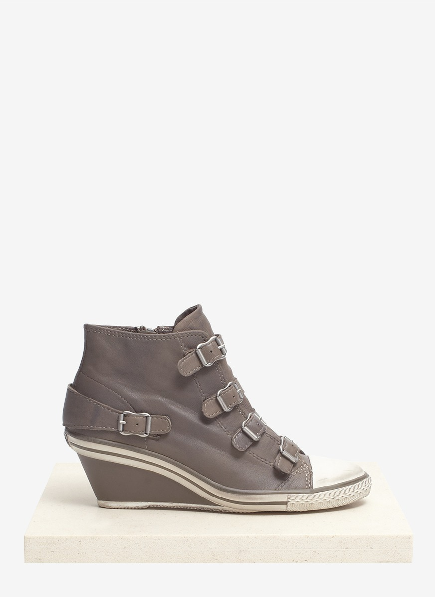 Lyst Ash Genial Leather Wedge Sneakers In Gray