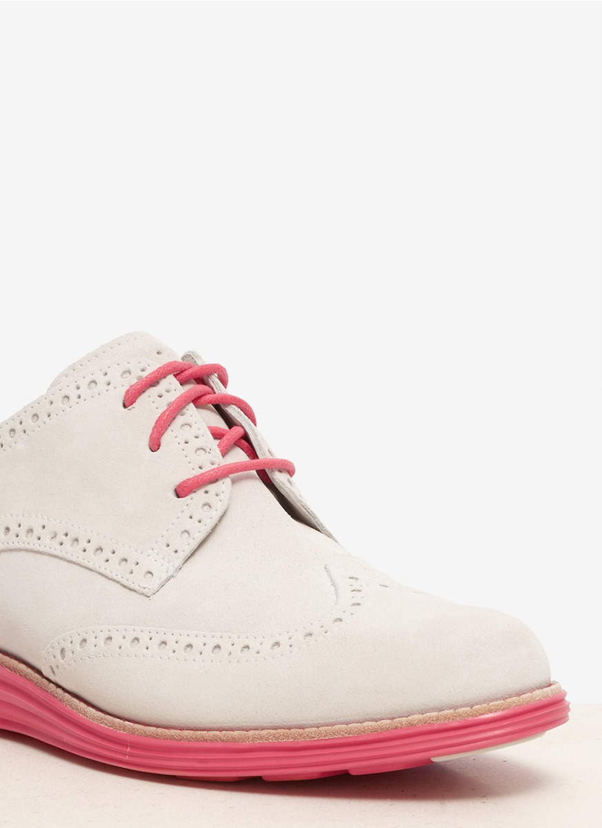Lyst Cole Haan Lunargrand Suede Wingtip Shoes In White