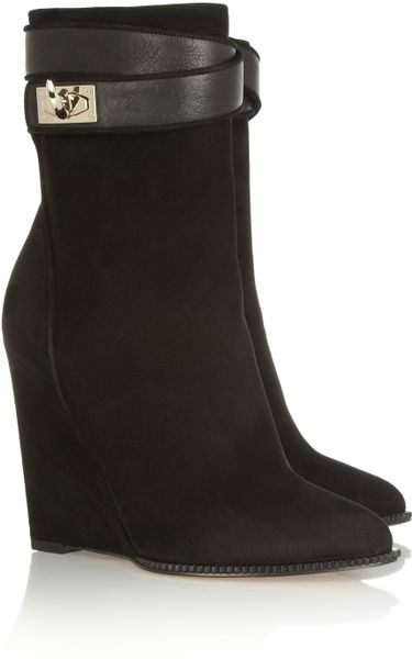 Givenchy Shark Lock Suede Wedge Ankle Boots In Black Lyst