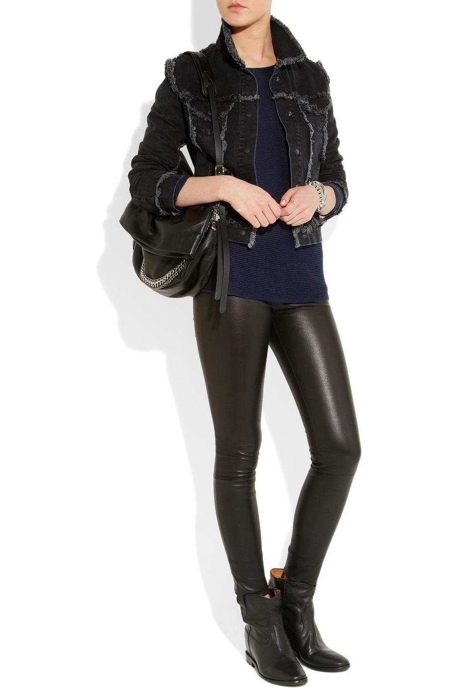 isabel marant cluster leather concealed wedge biker boots in black lyst. Black Bedroom Furniture Sets. Home Design Ideas