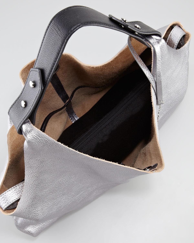 Vince camuto Kalay Metallic Leather Hobo Bag Silvercaviar in ...