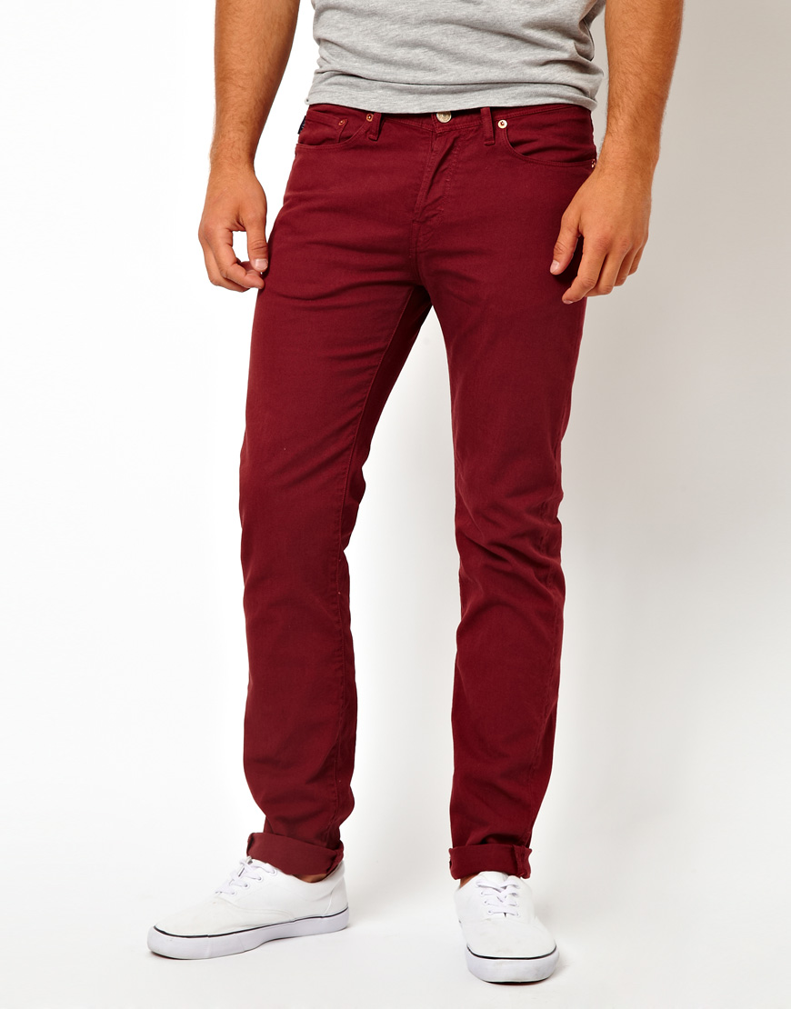 Asos Paul Smith Jeans Garment Dyed 5 Pocket Slim Jeans in Red for ...