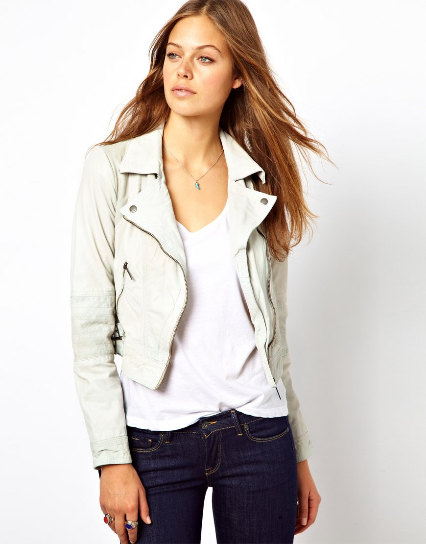 Pepe jeans Leather Jacket in Natural | Lyst